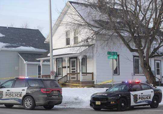 Authorities are responding to an incident in the 1200 block of Crooks Avenue at the intersection of East 12th Street on Monday, Feb. 17, 2020, in Kaukauna, Wis. Outagamie County Sheriff's Office officials said a call came in around 7:10 a.m.