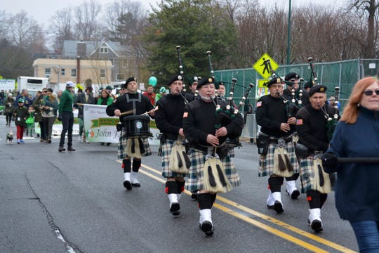 A pipe-and-drum band in Rumson's St. Patrick's Day Parade in 2019.