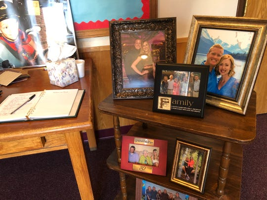 Pictures and a guestbook greeted those attending the funeral for Chase Hunter Bellah, 31, at the Merkel Church of Christ on Monday. Bellah, who grew up in Merkel before moving to Brownwood, and two others died Thursday, when the plane he was piloting crashed in Coleman County.