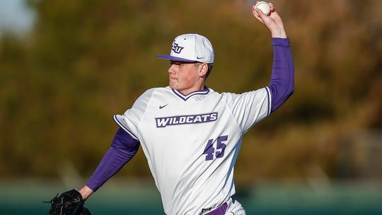 Abilene Christian sophomore pitcher Austin Wagner (45) throws Utah Valley on Feb. 14 at Crutcher Scott Field. ACU won 3-2.