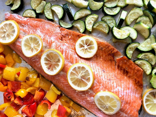 Sheet Pan Salmon, Bell Peppers and Zucchini