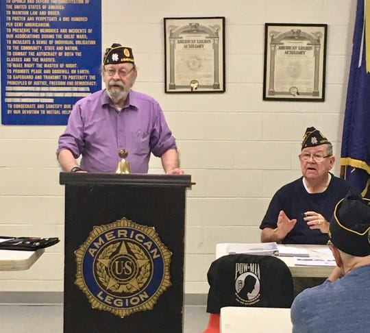 Post Commander Ron Piercy (at podium) and Post Adjutant Larry Fowler