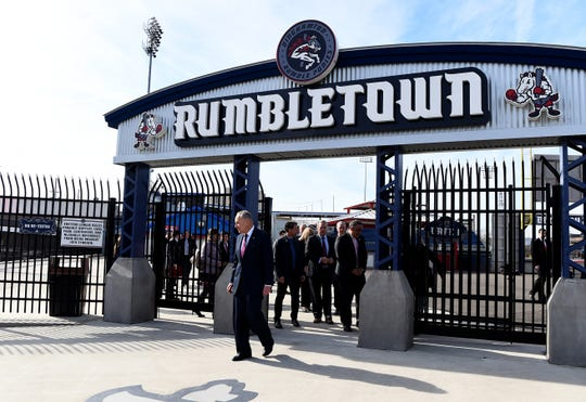 Sen. Chuck Schumer tours NYSEG Stadium before meeting with Mets COO Jeff Wilpon and MLB Deputy Commissioner Dan Halem to discuss the future of Minor League Baseball in Binghamton on Monday, February 24, 2020.