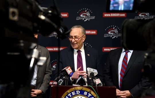 Sen. Chuck Schumer answers questions after meeting with Mets COO Jeff Wilpon and MLB Deputy Commissioner  Dan Halem at NYSEG Stadium to discuss future of Minor League Baseball in Binghamton.