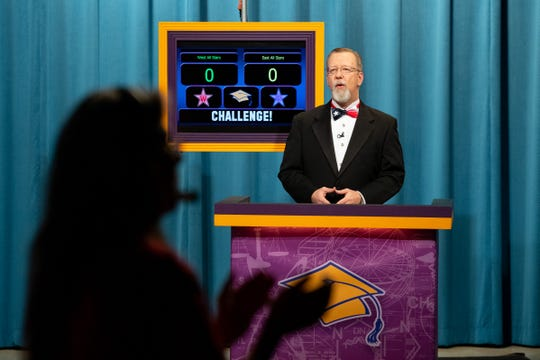Host of KEDT Challenge Eric Boyd gives the shows interdiction during a taping on Monday, Feb. 10, 2020.