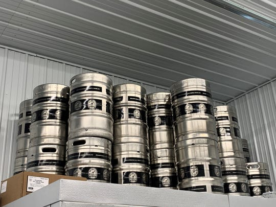 Kegs await craft beer from Dr. Brewlittle's Beer Co. in Maple Shade.