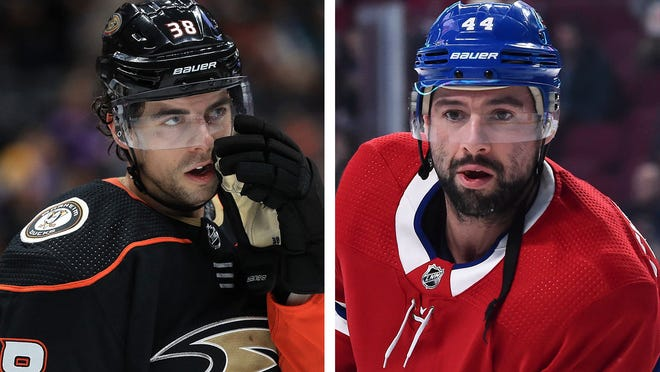 The Flyers added a pair of depth forwards before Monday's trade deadline in Derek Grant, left, and Nate Thompson, right.