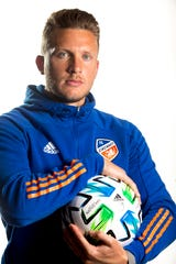 FC Cincinnati goalkeeper Spencer Richey stands for a portrait during FC Cincinnati media day at the Marriott Northeast in Mason, on Monday, Feb. 24, 2020.