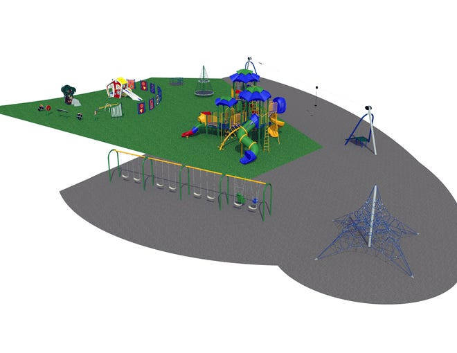 Fairfield Township's Heroes Park is getting new playground equipment as part of the park's master plan. There is an area to the left designed for 3-5-year olds, left; a zipline; major piece of equipment for 5-12-year-olds, center; swings, rope climber and other pieces.