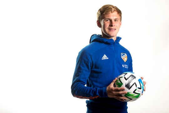 FC Cincinnati midfielder Jimmy McLaughlin  stands for a portrait during FC Cincinnati media day at the Marriott Northeast in Mason, on Monday, Feb. 24, 2020.