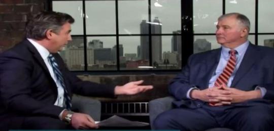 "Spectrum News' ""In Focus"" host Mike Kallmeye, left, interviews House Speaker Larry Householder about Ohio's troubled school voucher program."