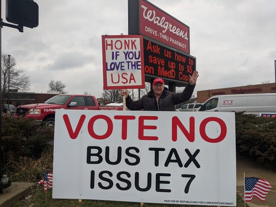 Jim Berns protests Issue 7 at Colerain Ave. and Galbraith Road.