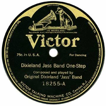 The label of the first pressing release on Victor of Dixieland Jass Band One-Step, the first jazz recording, from 1917.
