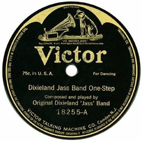 1917 first pressing release on Victor of Dixieland Jass Band One-Step, the first jazz recording.