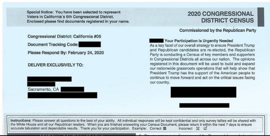 The Republican National Committee is sending mailers to people across the country that look like the official 2020 Census form.