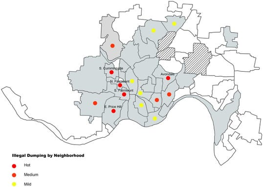 Here are the hot spots of illegal dumping in Cincinnati neighborhoods.