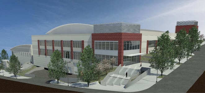 The view from First and Main Street of the planned downtown Clarksville Multipurpose Event Center.