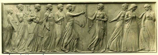 Artist Nellie Verne Walker sculpted this bas-relief for the Iowa Women's Suffrage memorial at the State Capitol.