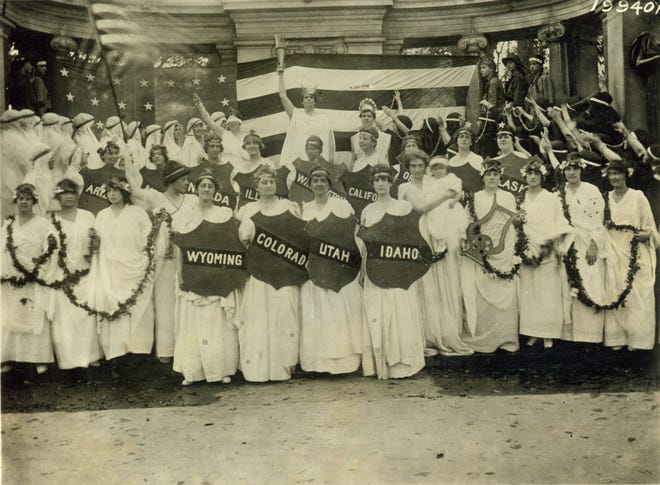Women's suffragists gathered at a national convention in this photo, circa 1915.