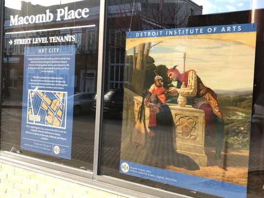 Art from the Detroit Institute of Arts hangs in a storefront in downtown Mount Clemens on Feb. 19. The DIA partnered with the Macomb Cultural and Economic Partnership to hang dozens of images of art from the museum in vacant and occupied storefronts in Mount Clemens.