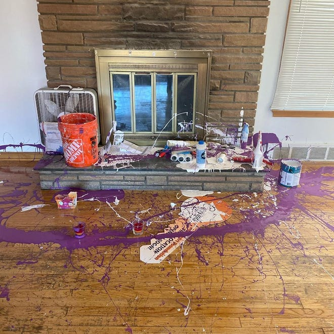 Paint was poured onto the floor during a recent burglary at a Detroit home rented by the Pure Heart Foundation. Thieves also stole appliances and toiletries for kids. The nonprofit helps children of incarcerated parents and is planning to open the home as a clubhouse.