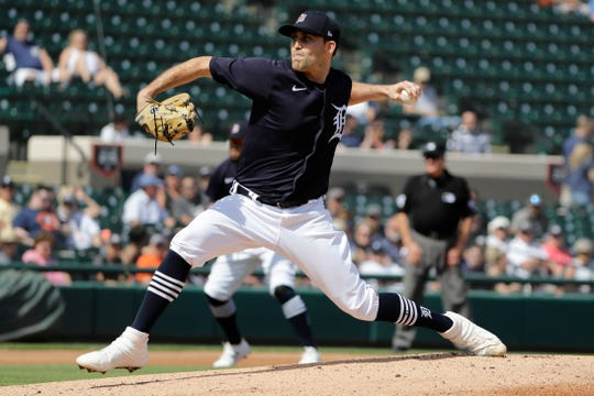Tigers pitcher Matthew Boyd delivers a pitch during the first inning of a spring training baseball game against the Houston Astros on Monday, Feb. 24, 2020, in Lakeland, Fla.