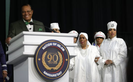 Khadija wife of the Honorable Minister Louis Farrakhan listened as he addressed thousands of members of the Nation of Islam during Saviors' Day Sunday, February 23, 2020 at the Cobo/TCF center in Detroit, Mich.