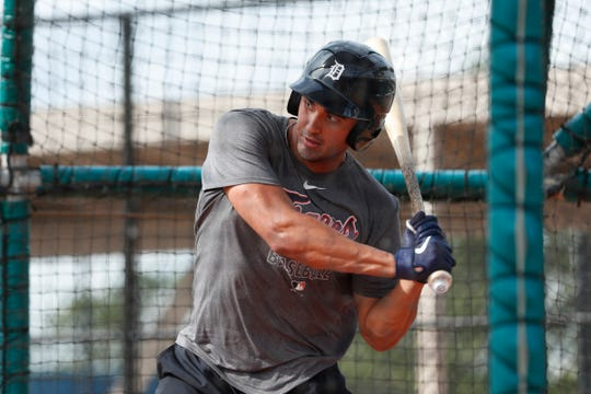 Outfielder Riley Greene practices in the batting cage during Detroit Tigers spring training at TigerTown in Lakeland, Fla., Tuesday, Feb. 18, 2020.