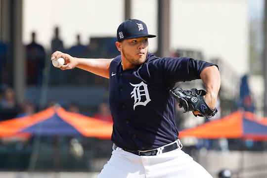 Tigers pitcher Joe Jimenez throws a pitch against the Astros during the fourth inning of the Tigers' 11-1 loss in a spring training game against the Astros on Monday, Feb. 24, 2020, in Lakeland, Fla.