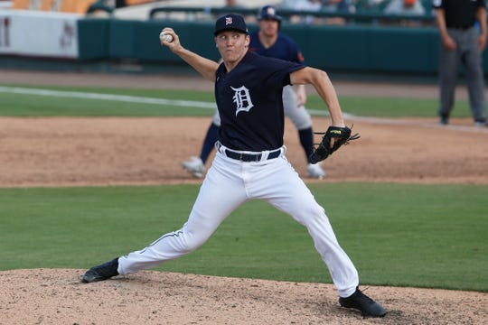 Tigers pitcher Zack Hess throws a pitch against the Astros during the ninth inning of the Tigers' 11-1 loss in a spring training game against the Astros on Monday, Feb. 24, 2020, in Lakeland, Fla.