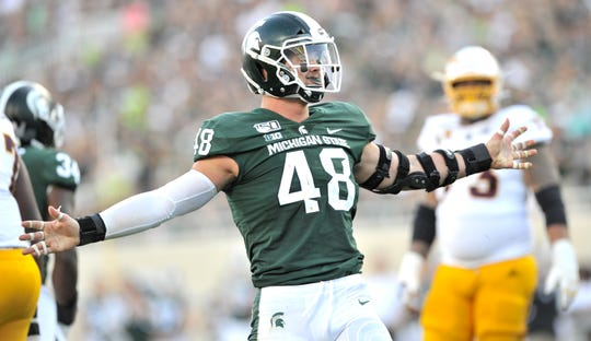 Michigan State defensive end Kenny Willekes (48) was a two-time first-team All-Big Ten performer and won the 2019 Burlsworth Trophy, given to the nation's most outstanding player who began his career as a walk-on.