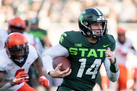 Former Michigan State quarterback Brian Lewerke is a bit puzzled some have questioned his athleticism when he ran for 1,255 yards in college.