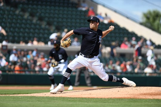 Matthew Boyd delivers in the first inning against the Astros on Monday.