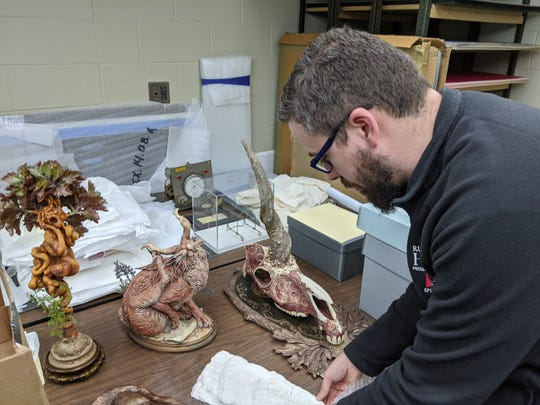 Rutherford B. Hayes Curator of Artifacts Kevin Moore  prepares resin models made by Fremont-born artist Dan Chudzinski including a unicorn head, a jackalope and mandrake.