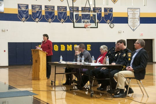 Two Villages' Jayne Klett spoke at the second meeting on opiate/heroin addiction and recovery at Woodmore High School in Elmore in 2016. Klett will be the facilitator for Sunday's Two Village's town hall meeting on childhood anxiety at Woodmore Elementary School. The meeting starts at 1 p.m.