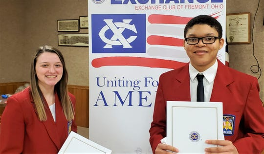 Bethany Roberts and Matthew Perry were recognized by the Fremont Exchange Club recently.