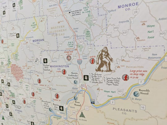 "A map of Ohio featuring mythical monster sightings will be one sale at the gift shop inside the Rutherford B. Hayes Presidential Library and Museums in connection with the museum's latest exhibit, ""Ohio: An Unnatural History,"" opening Friday and running through Halloween."