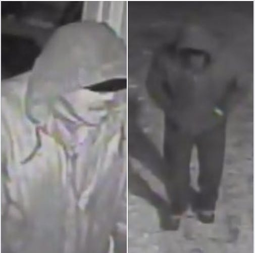 An at-large suspect caught on camera while breaking into Door County Habitat for Humanity, where they stole some money.