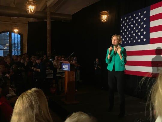 Elizabeth Warren speaks during rally in Charleston, SC, Monday, Feb. 24, 2020.