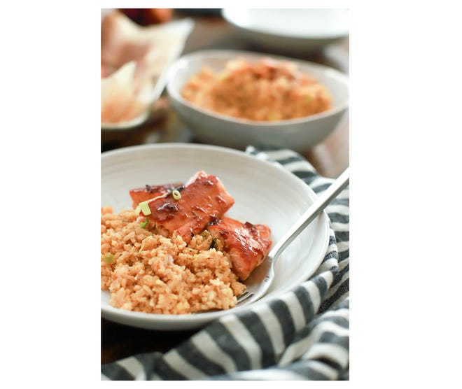 Korean Salmon and Kimchi Fried Rice