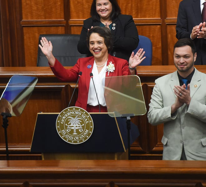 Gov. Lou Leon Guerrero waves to guests of her 2020 State of the Island Address at the Guam Congress Building in Hagåtña, Feb. 24, 2020.