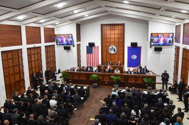 Dignitaries fill the Speaker Antonio R. Unpingco Legislative Session Hall for Gov. Lou Leon Guerrero's 2020 State of the Island Address at the Guam Congress Building in Hagåtña, Feb. 24, 2020.