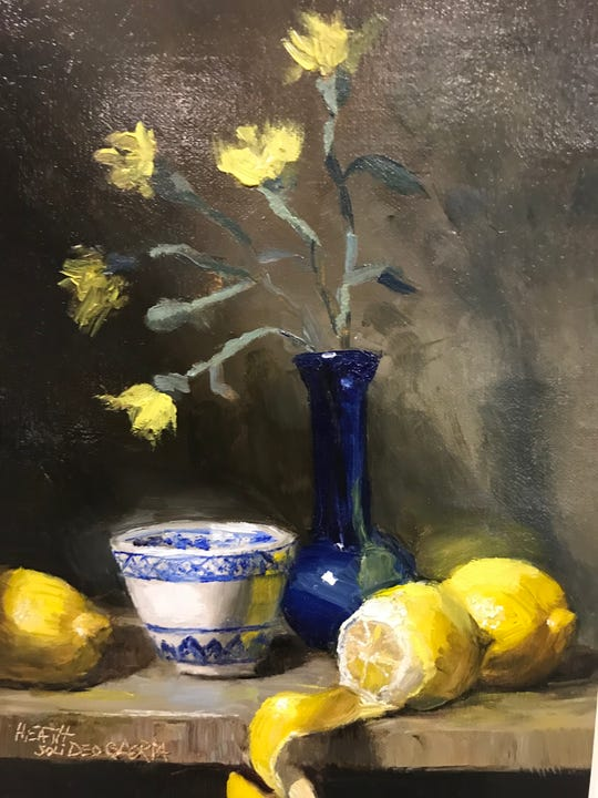 """""""Tranquility in Yellow and Blue"""" by Tresa Heath is one of more 80 artworks that make up the """"Peace in the Valley"""" art exhibit, which opens Thursday at the Audubon Museum and runs through May 2."""