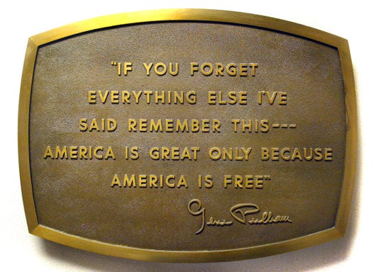 This bronze plaque of a quote from Gene Pulliam was once in the downstairs lobby of the old Indianapolis Star building at 307 N. Pennsylvania St.