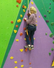 """""""Awesome Granny"""" Mary Ann Venable scales a wall at Knoxville's Onsight Rock Gym."""