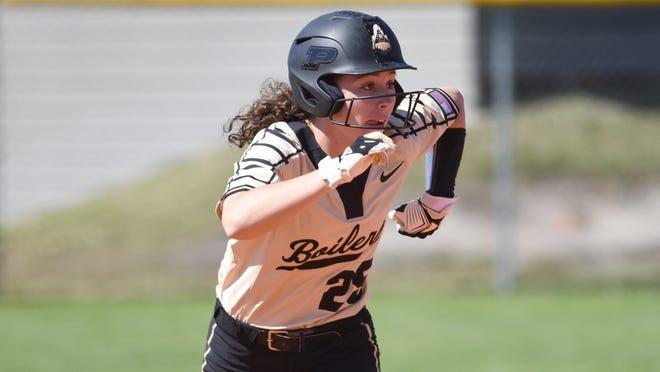 Purdue's Cora Bassett during an NCAA softball game against Monmouth on Saturday, Feb. 15, 2020, in Madeira Beach, Fla. (AP Photo/Kelly Sheehan)