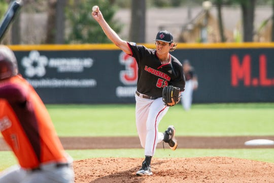 UL's Carter Robinson, shown here against Virginia Tech earlier this season, had a strong outing in an 11-2 win at Rice on Tuesday night.