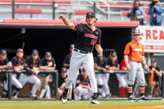 UL pitcher Carter Robinson, who threw five scoreless innings in a 7-0 win over McNeese on Tuesday night, throws to first base during a series against Virginia Tech earlier this season.