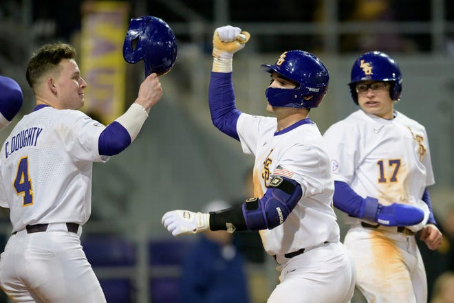 LSU third baseman Cade Doughty leads the SEC with eight home runs this season as the No. 15 Tigers (15-3) open league play Friday night at Alex Box Stadium against No. 3 Mississippi State (14-3).