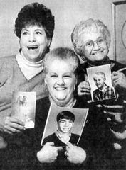 In 1992, these friends showed off photos of the children they all had on Feb. 29, 1956: from left, Elizabeth Goodin with daughter Katherine; Shirley Colyer with son Donald; and Julie Hubrich with son Mark.
